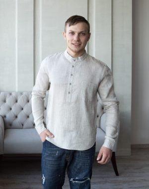ВП-125 Мужская сорочка лен бежевый