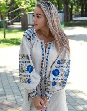 """Платье """"Борщівські барви"""" лен Д-88-1 бежевый"""