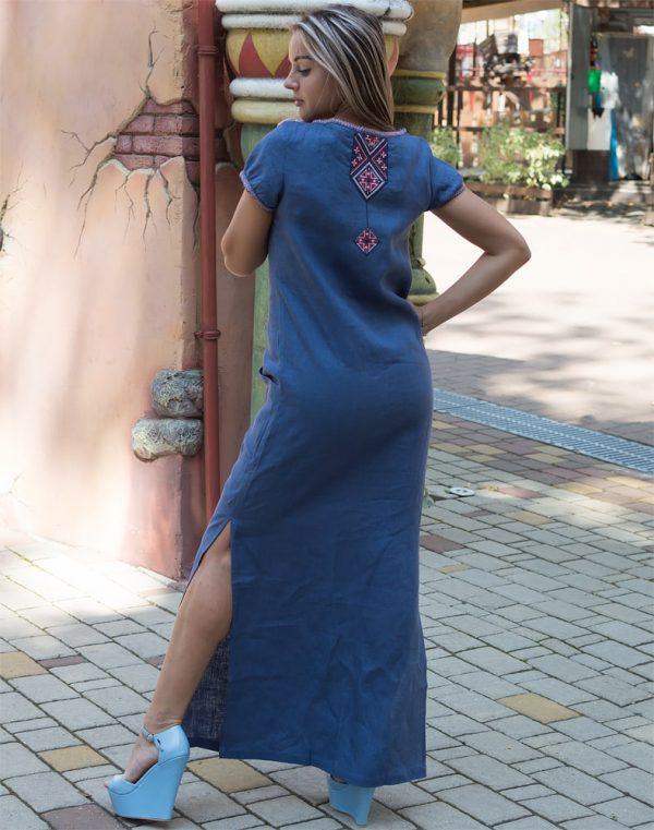 """Платье """"Буковель"""" лен голубой"""
