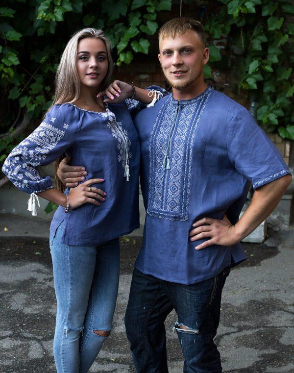 """Вышиванка женская """"Колоскова"""" лен джинс"""