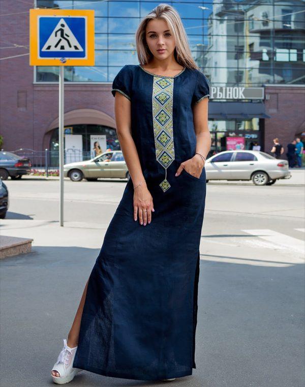 "Платье ""Буковель"" лен синий"