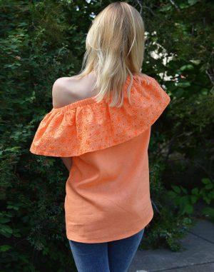 Блуза ВП-94 Лен 756 оранжевый