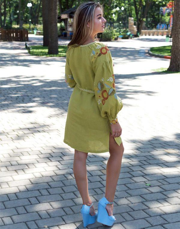 """Платье """"Квітуче коло"""" лен Д-88-1 длина горох"""