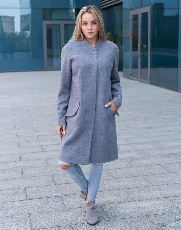 Пальто женское  В-131 кашемир Феникс серо-голубой
