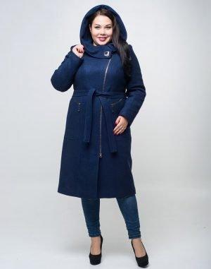К-134 Пальто женское Кашемир утепленное синий