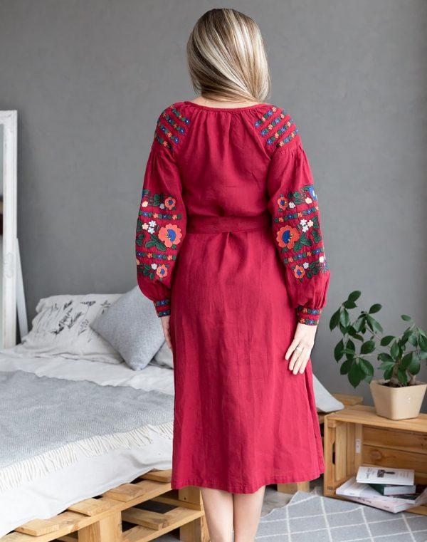 "Платье ""Борщівські барви"" Д-88-2 лен красный"