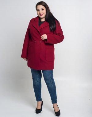 В-74 Пальто женское кашемир бордо