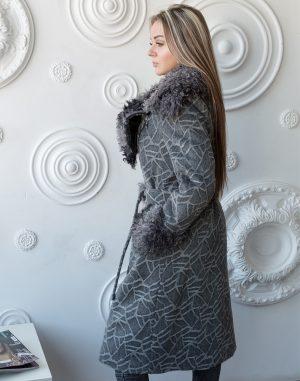 Пальто женское утепленное Даяна жаккард серый