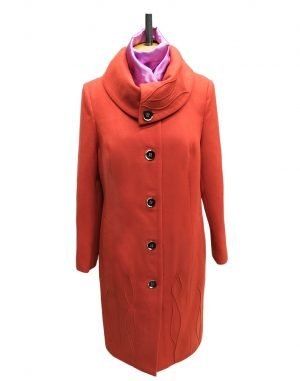 К-77 Пальто женское кашемир утепленное терракот