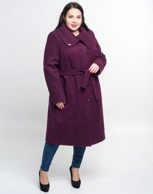 К-77 Пальто женское кашемир утепленное баклажан