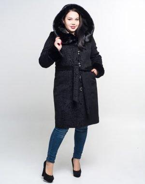 Пальто женское утепленное К-72 кашемир черный