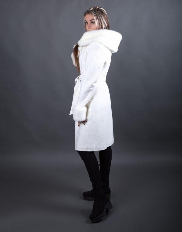 Пальто женское утепленное К-72 вареная шерсть молоко