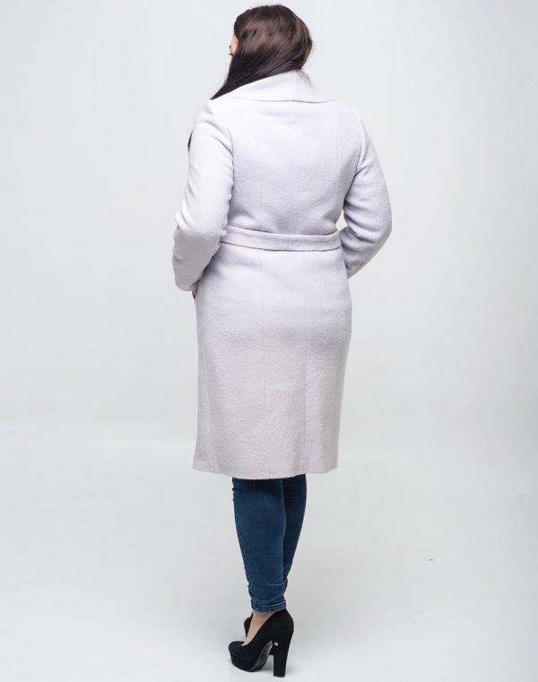 Женское пальто К-89Д вареная шерсть серый светлый