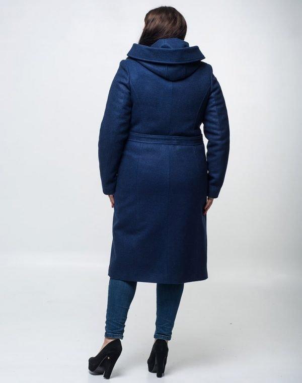 Пальто женское утепленное К-134 кашемир синий