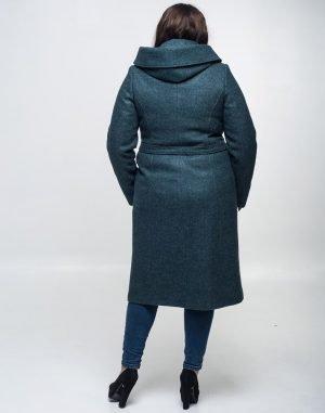 Пальто женское утепленное К-134 кашемир зеленый