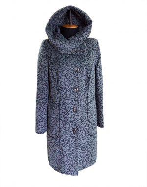 """К-136 Пальто """"Узор"""" утепленное серый"""