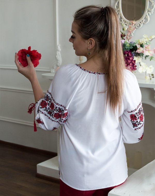 """Вишиванка жіноча """"Троянда"""", поплін білий"""