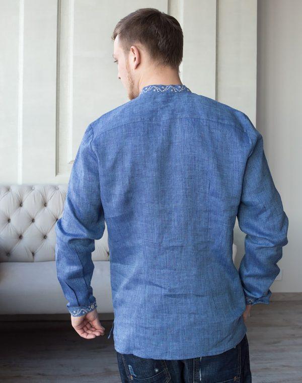 """Вышиванка мужская """"Дубок"""" лен синий джинс"""