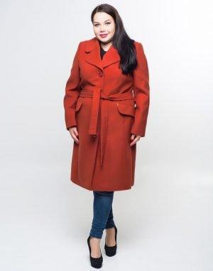 Женское пальто К-132 Кашемир  терракот
