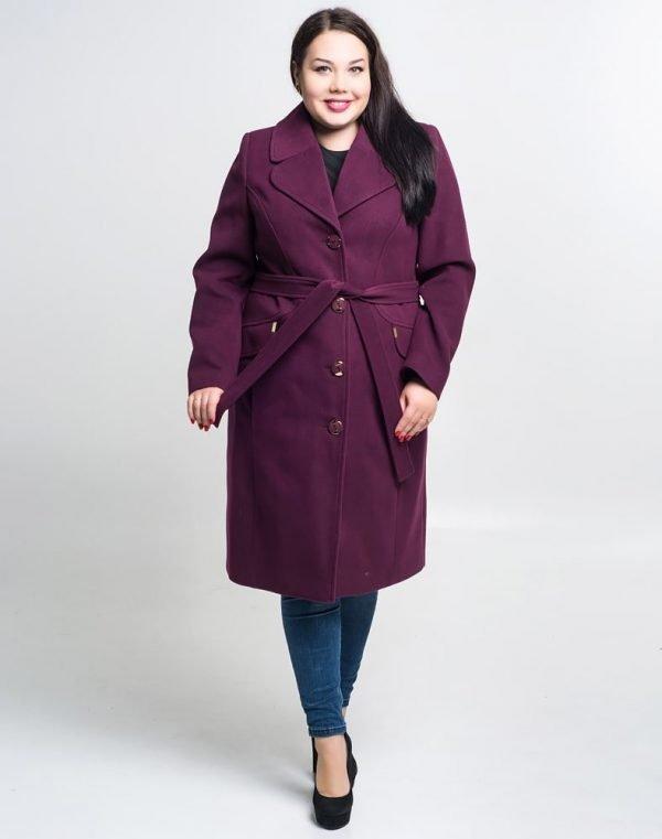 Женское пальто К-132 Кашемир  баклажан