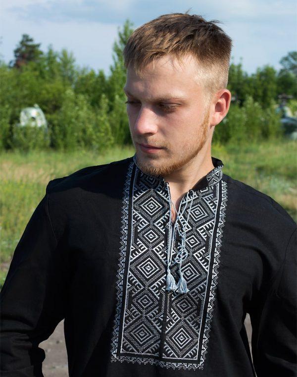 """Вышиванка мужская """"Волопас"""", лен черный"""