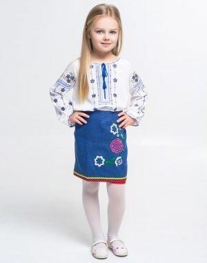 """Вышиванка для девочек """"Незабудка"""" поплин белый"""
