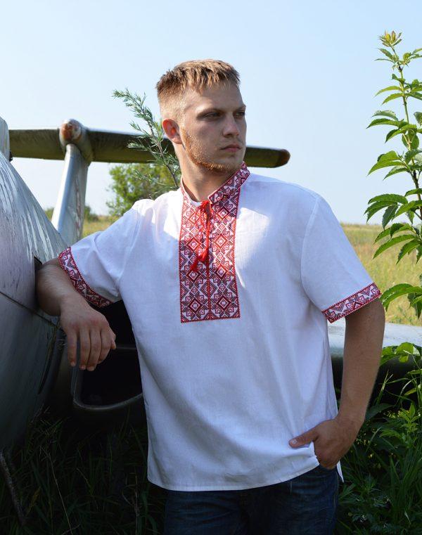 """Вышиванка мужская """"Віктор"""", лен белый"""