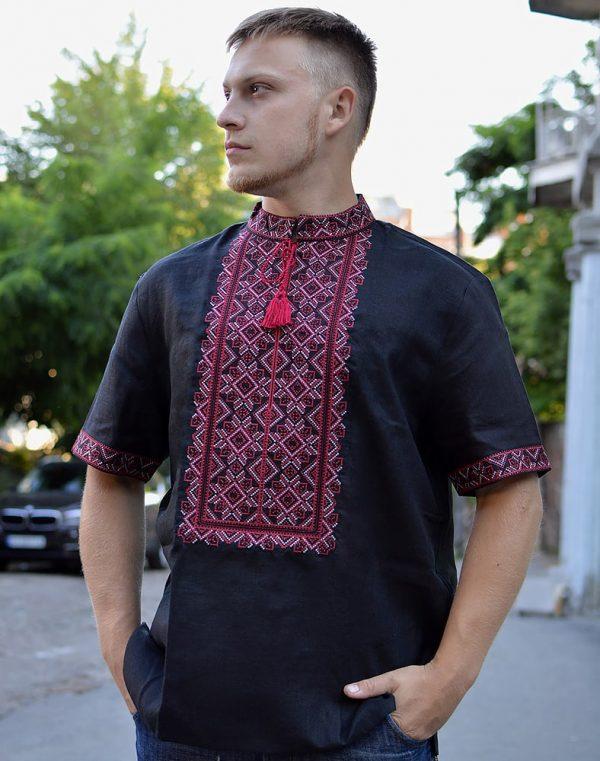 """Вышиванка мужская """"Віктор"""", лен черный"""