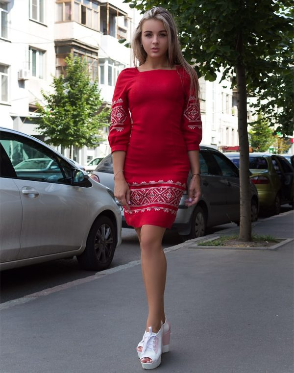"""Платье """"Традиция"""" лен красный"""
