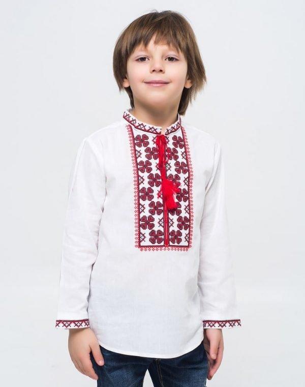 """Вышиванка для мальчиков """"Васильок"""" ДР хлопок  098-116 белый"""