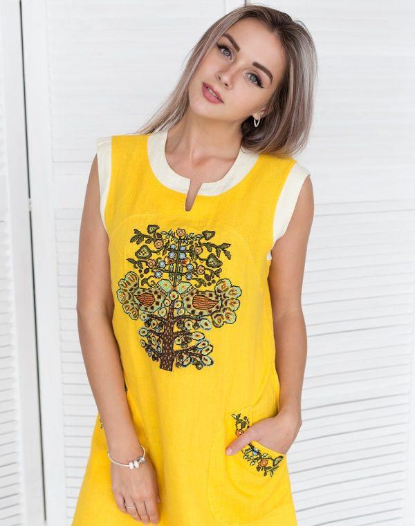 "Платье ""Пташка літа"" лен желтый"