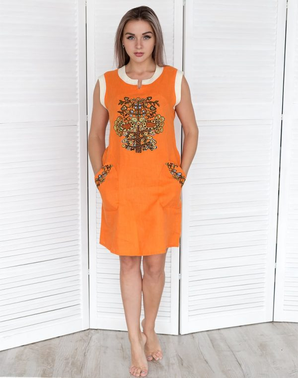 "Платье ""Пташка літа"" лен оранжевый"