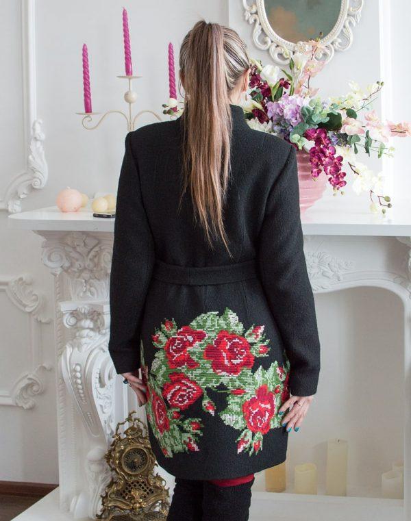 """К-107 Пальто """"Троянди"""" вареная шерсть черный"""