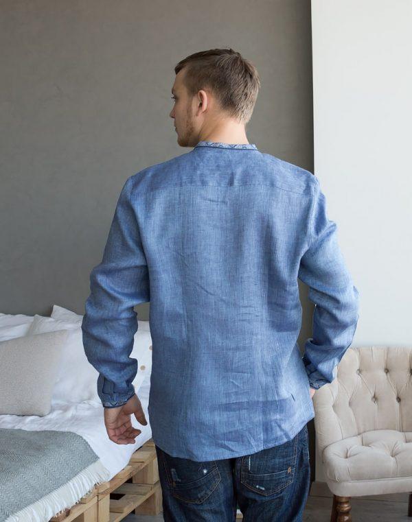 """Вышиванка мужская """"Колос"""", лен синий джинс"""
