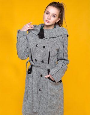 К-105 Пальто женское твид утепленное черн/бел.