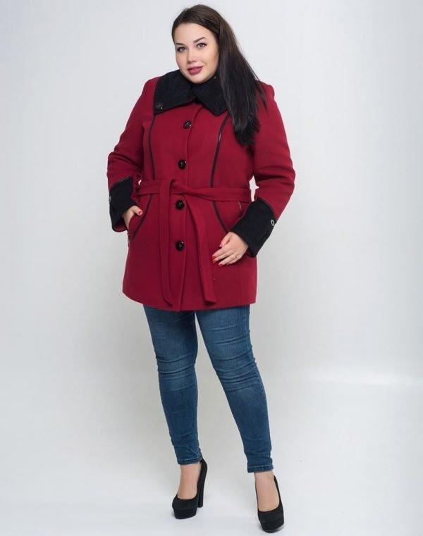 Пальто женское утепленное В-21 кашемир бордо