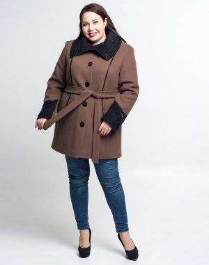 Пальто женское утепленное В-21 кашемир бежевый темный