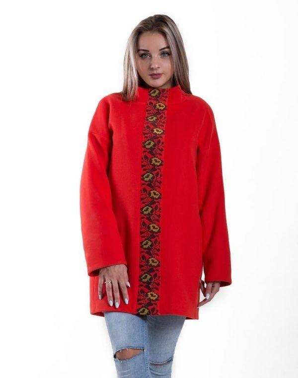 Пальто женское утепленное К-139 Борщівські квіти кашемир коралл