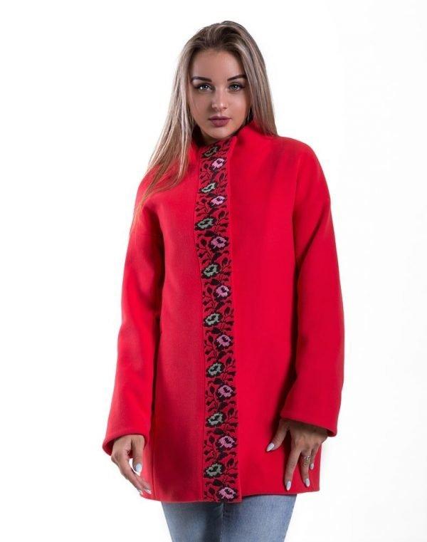 Пальто женское утепленное К-139 Борщівські квіти кашемир лосось