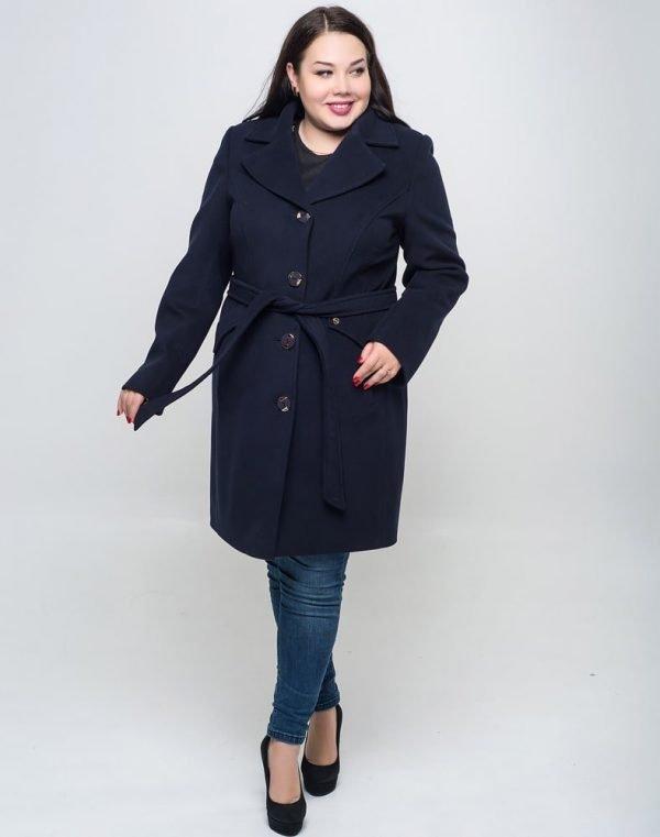 Женское пальто В-27 кашемир синий темный