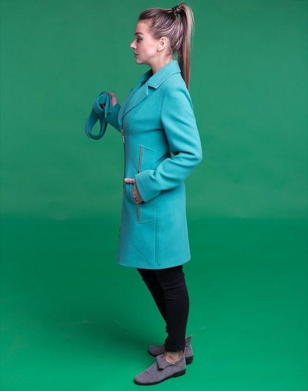 В-28 Пальто женское кашемир мята