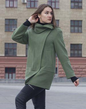 Пальто женское Кашемир-166 зеленый