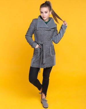Женское пальто К-175 твид черно-белый