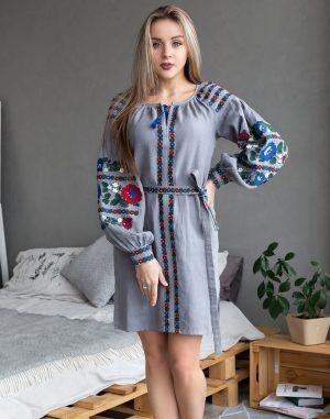 "Платье ""Борщивськи барви"" лен Д-88-1 темно-серый"