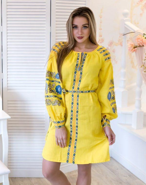 """Платье """"Борщивськи барви"""" лен Д-88-1 желтый"""