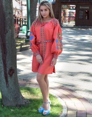 """Платье """"Борщивськи барви"""" лен Д-88-1 персик"""