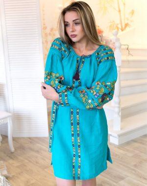 "Платье ""Борщивськи барви"" лен Д-88-1 бирюза"