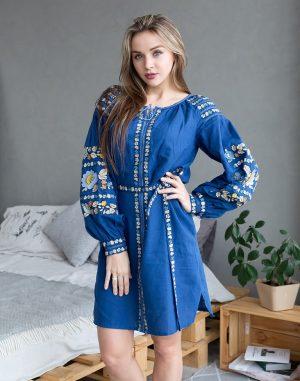"Платье ""Борщивськи барви"" лен Д-88-1 электрик"