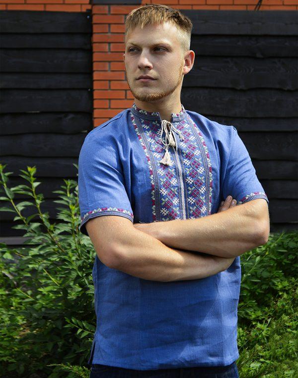 """Вышиванка мужская """"Червона Калина"""", лен синий"""