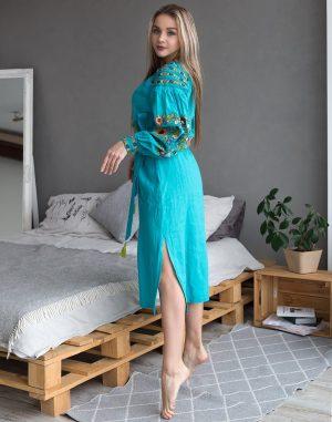 """Платье """"Борщівські барви"""" Д-88-2 лен бирюза"""